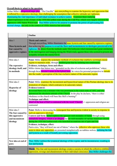 Cover page of Crucible Essay Plan Adaptable - Band 6 Advanced English